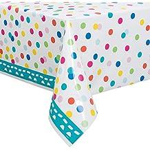 Unique Party - 49603 - Nappe en Plastique Confettis de Gâteau d'Anniversaire - 213 cm x 137 cm