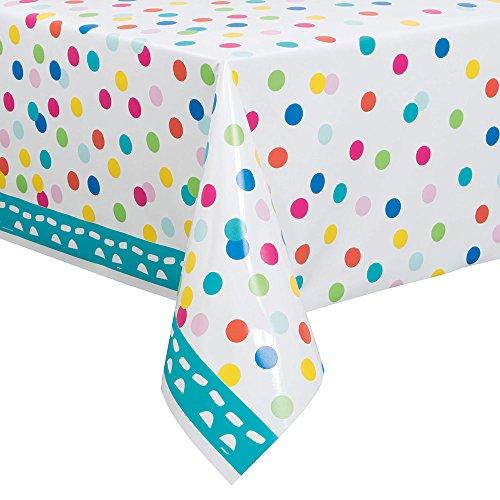 Unique Party Kunststoff-Tischdecke, Motiv Geburtstags-Konfetti, 213,4 x 137,2 cm (Kunststoff Tischdecken Aus)