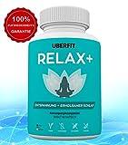 UberFit RELAX+ Premium Schlaf-Optimierer für besseren Schlaf, mehr Entspannung - 60 Anti-Stress Kapseln Vegan - Melatonin, Baldrian, Melisse, Ashwagandha, Lavendel, Hopfenzapfen, Passionsblume, L-Tryptophan, Vitamin B6 und mehr