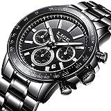 Lige Herren Quarz Analog Uhr Mit Sport Wasserdicht Schwarz Edelstahl Armband 0222