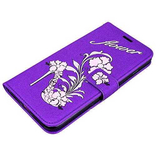 Coque iPhone X, HB-Int Housse de Protection iPhone X PU Cuir a Rabat Flip Portefeuille avec Motif Fleur Etui Antichoc Shockproof Case Cover avec Fonction Stand Support pour Apple iPhone X - Noir Violet