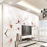 XXPFF Carta da Parati Personalizzata Murales Bianco Magnolia Fiore, Foto 3D Wallpaper Murale Camera da Letto Soggiorno TV Parete 3D Carta da Parati, 400Cm (W) X 250Cm (H)