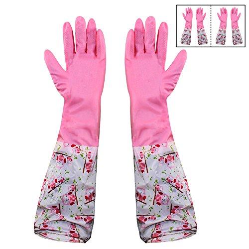 HOKIPO® PVC Reusable Household Kitchen Gloves, Long Elbow Length, Free Size 51yjiX  2BSJL