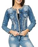 ArizonaShopping Damen Jeans Jacke Perlen Strass Glitzer Steine Kurze Übergangsjacke D2259, Farben:Blau, Größe Damen:42 / XL