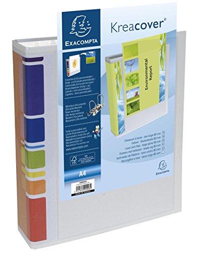 Exacompta KreaCover A4/200802H - Archivador con Anillas para presentadciones A4 80 mm , Color  Blanco