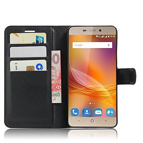 SMTR ZTE blade A452 Wallet Tasche Hülle - Ledertasche im Bookstyle in Schwarz - [Ultra Slim][Card Slot][Handyhülle] Flip Wallet Case Etui für ZTE blade A452