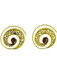 c1e8be9534a6 Chic-Net Pendientes Espiral Ojo de Tigre golpeó latón amplia ovalada níquel  oro antiguo libre