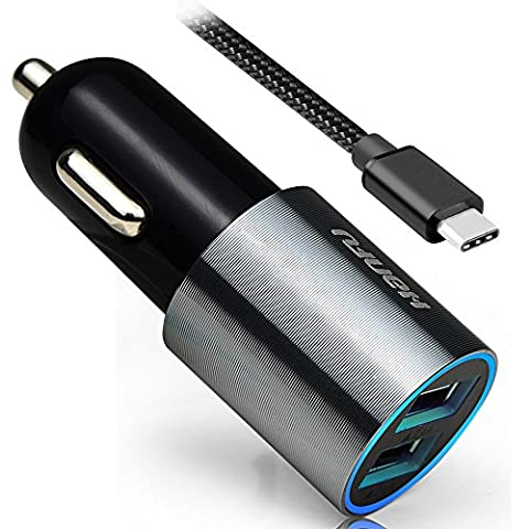 HanFu Car Charger 4.8A/24W 2-port USB antistatic Car Adapter 3ft