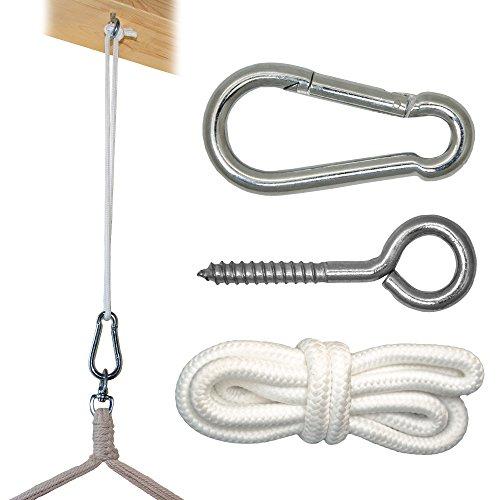 Befestigung für Hängesessel Hängestuhl | schwere robuste Metall Ausführung | Karabinerhaken Ringschraube Seil | Befestigungsset Aufhänge Set für Hängematte | Belastbarkeit bis ca. 160 KG
