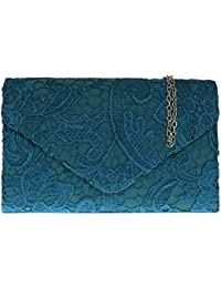 Girly HandBags Satin Lace Clutch Bag Shoulder Chain Elegant Wedding Evening Womens Gift
