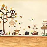 HHZDH Wandaufkleber Wald Eule Schmetterling Schaukel Kaninchen Eichhörnchen Wandaufkleber Tier Baum Für Kinder Zimmer Kinder Baby Kinderzimmer Zimmer Home Decor Weihnachten