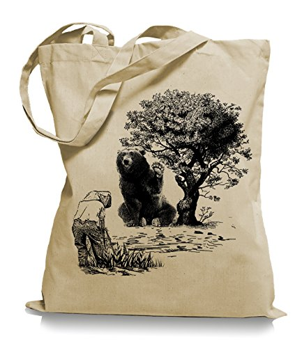 Ma2ca® Please Smile Bear - Jutebeutel Stoffbeutel Tragetasche / Bag WM101 Sand