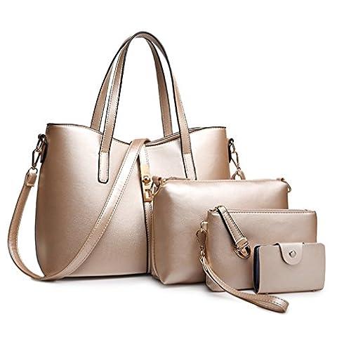 Honeymall uxe Pu Honeymall à main femme en cuir sac à bandoulière epaule de sac de femmes de la mode + porte-monnaie + carte 4pcs mis