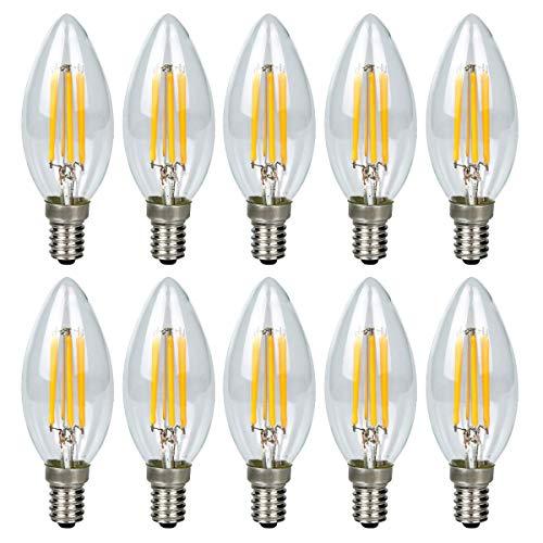 10er 6W E14 Kerze LED Lampe, Kein Flackern Dimmbar Filament Lampe E14 Glühfaden ersetzt 60W Glühlampe, GreenSun LED Lighting Warmweiß 2700K Fadenlampe, Glas, 360° Abstrahlwinkel -