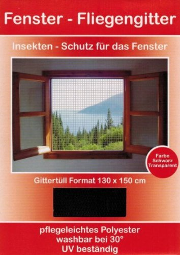Preisvergleich Produktbild Fliegengitter Fenster 130x150 schwarz Insektenschutzfenster Stechmückenschutz