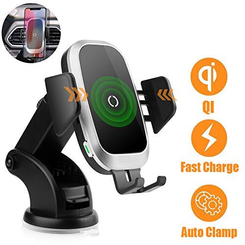 NeotrixQI Kfz-Ladegerät-Halterung, automatische Klemmung, schnelles Qi-Ladegerät, kompatibel mit iPhone XS Max/Xr/X/8 Plus, Samsung Galaxy S10/S9/S8/S7/S6, Huawei Mate 20 Pro