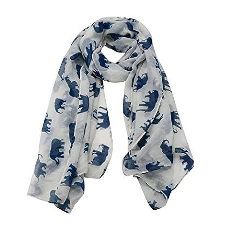 hunpta Lady Womens Long Cute Elephant Print Scarf Wraps Shawl Soft Scarves (White)