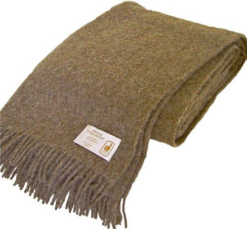 Extralange flauschig weiche hellbraune Wolldecke aus 50% Alpaka und 50% Schurwolle, ca 240x140cm mit Fransen, ca 1100 g (Braune Wolldecke, Die)