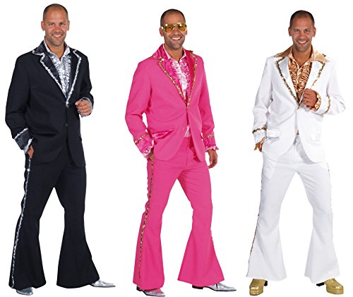 Panelize 70er 80er Anzug Bling Bling Disco Mottoparty Anzug mit Schlaghose (XL, pink)
