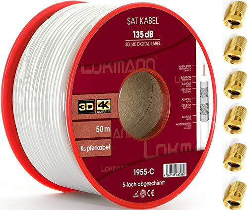 LOKMANN 50m Reines-Kupfer 135dB 5-Fach geschirmt Koaxialkabel Koax Sat Kabel Antennenkabel TV Cable Satellitenkabel Full HD, UHD, 4K, 8K + 10 F-Stecker 50 Tv Kabel