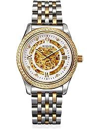 binlun Mens 18 K oro reloj Diamond Esqueleto Automático Mecánico vestido relojes ...