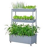 Blumenregale, Bügeleisen Gemüsepflanzensäcke Bio-Gemüse Baumschulen Mehrere Schichten Gartenarbeit Ausstellungsstand Silbergrau 109 × 45 × 124cm Amerikanischer Blumenständer