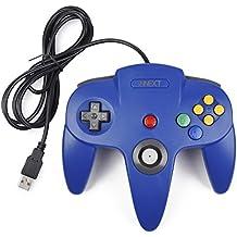 innext mando de juego Nintendo 64N64USB clásico gamepad Joystick para Windows PC Mac (azul 1x Pack)