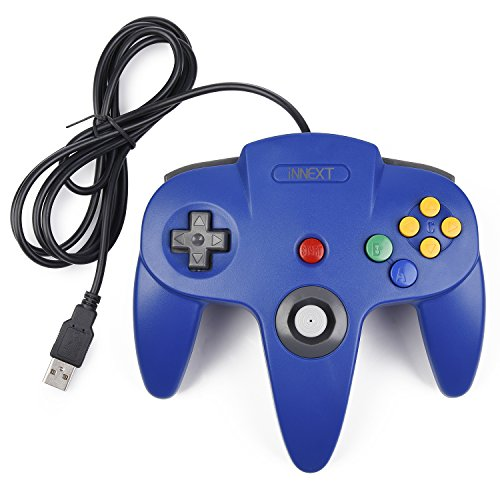 iNNEXT Retro 64-Bit Controller N64 USB Controller Classic Joystick Gamepad Für Windows PC MAC Raspberry Pi 3 (blau)