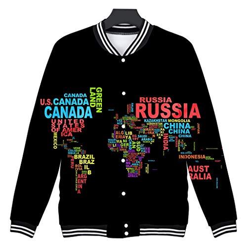 Wikinger Kostüm Paare Für - LIMITA Paar 3D-Druck Langarm-Strickjacke Rundkragen Tops Jacke Jacke mit Weltkartendruck Paares schlanke Baseballuniform