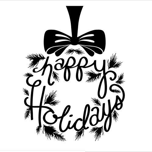NOVELOVE Frohe Feiertage Wandtattoo Kranz Geschenk Fenster Vinyl Wandbilder Tafel Vinyl Kunst Aufkleber Weihnachten Abnehmbare Aufkleber Für Wand 57 * 75 cm