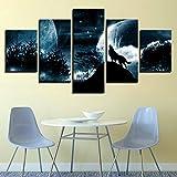 XLST 5 Panel wandkunst vollmondnacht Wald Wolf das Bild Druck auf leinwand Tierbilder für wohnkultur Dekoration,B,10x15x2+10x20x2+10x25x1
