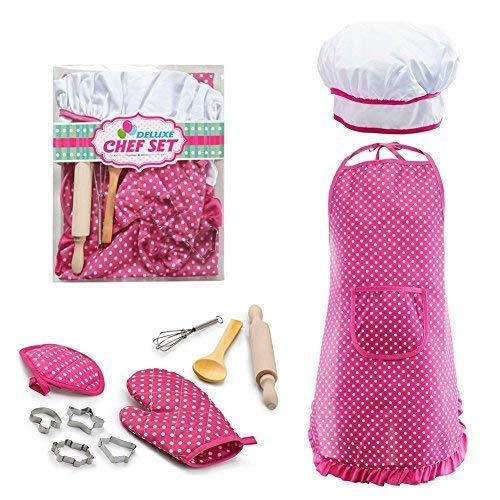 Lembeauty 11PCS per Bambini Cottura e Set Include Grembiule, Cappello da Cuoco, Guanto e Utensili e Altri Accessori per Travestimento da Chef Costume Carriera Giochi di Ruolo Rosa