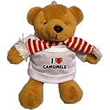 Llavero de oso marrón de peluche con Amo Camomile en la camiseta (nombre de pila/apellido/apodo)