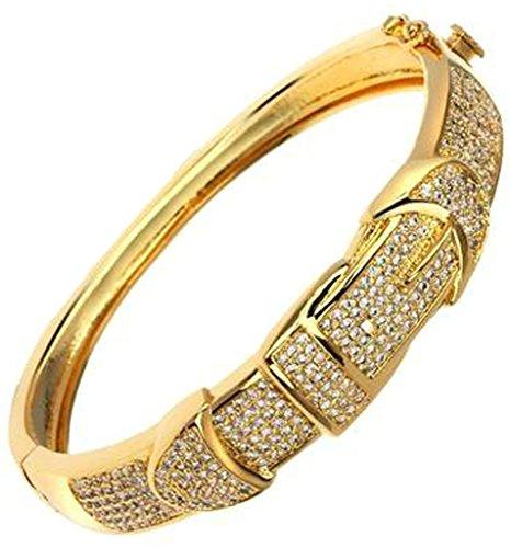AnaZoz Bijoux Série Haute de Gamme Femme Bracelet Mariage Noble Élégant Incrusté Zircon Cubique Gourmette Rond Buckle Design Noël valentin Or