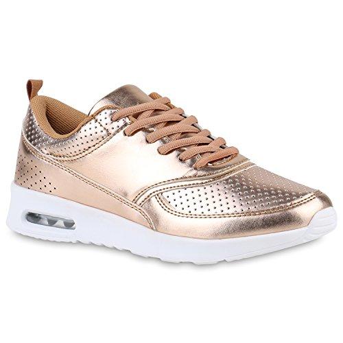 Damen Lark Runners Sneakers Lauf Fitness Trendfarben Sportliche Schnürer Schuhe 142949 Rose Gold 40   Flandell®