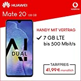 Vodafone Huawei Mate 20 mit 128 GB internem Speicher, Smart L Plus inkl. 7GB Highspeed Volumen mit Max 500 Mbits, inkl. Telefonie- und SMS Flat, EU-Roaming, 24 Monate min. Laufzeit, mtl. 41, 99 Blau