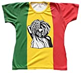 TICILA Damen T-Shirt Rot Gelb Grün Stonewash Jamaica Flagge Rasta Rastafari M 38/40