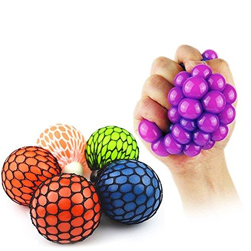 Neuheit Mesh Squishy Ball für Anti Stress Squeeze Traube Ball Relieve Druck Ball Spielzeug mit zufälliger Farbe - 1 PCS (Zufällige tiefe Farbe) (Unter Hund 1 Billig Spielzeug)
