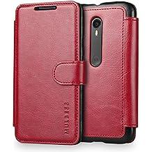 Funda Motorola Moto G (3ª Generación) 2015, Mulbess Motorola Moto G 3rd Generación Wallet Case [Rojo] - Funda Cuero con Ranuras Cierre Magnético para Motorola Moto G 3nd Gen