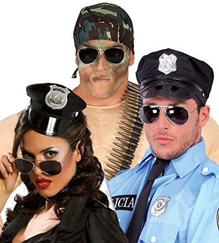 BRILLE - POLIZIST - *** Spiegelglas (Polizist Kostüme Dame)