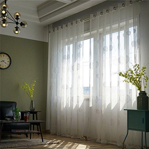 Tende in lino floreale, floreale ricamato solid sheer grommet rod pocket retro lungo blackout camera da letto finestra tende pannello draperie one pair per soggiorno
