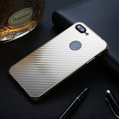 iPhone 7 Plus Hülle, iPhone 8 Plus Hülle, Valenth Carbon Fiber Partern Aluminium Metall Stoßdämpfer Shockproof Schutzhülle für iPhone 8 Plus / iPhone 7 Plus Gold