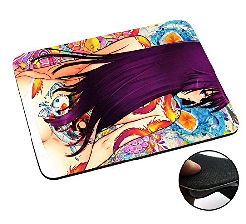 002947 - Sexy Manga Anime Girl With Tattoos Long Hair Design Macbook PC Laptop Anti-slip Mousepad Mouse Mat Tpu Leather Stark haftende Unterseite für optimalen Halt (Gucci Tattoo)