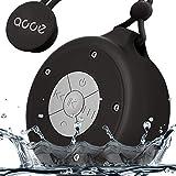 AOOE Wasserdichte Bluetooth Lautsprecher Dusche Lautsprecher 5W IP64 Wasserdicht Außen-Lautsprecher Duschradio mit Freisprechfunktion, Saugnapf und Praktischer Schnalle für Outdoor, Dusche (Schwarz)