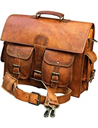 CraftWorld 15''INCHES 100% Genuine Goat Leather Bag Laptop Bag Messeger Bag Office Bag Sling Bag For Unisex