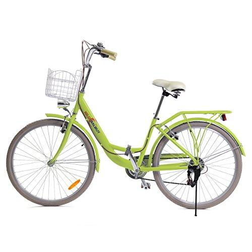 "Iglobalbuy 26"" 7 speed Lady City Bike donna biciclette commerciale Commute bici con portapacchi Cestino classico Lifestyle (verde)"
