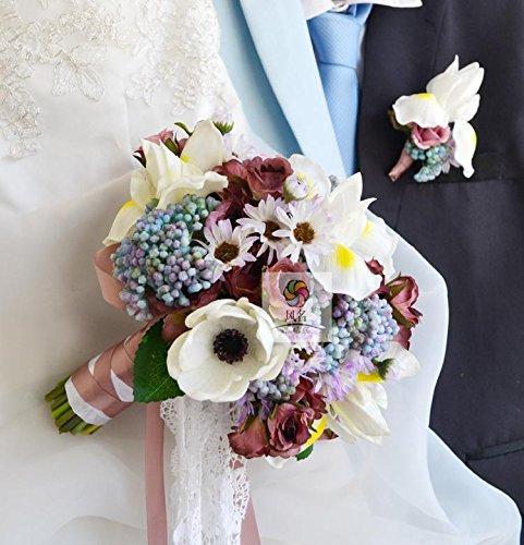 Yxhflo Emulation Blume Blumensträusse Hochzeit Braut Retro Weiss Violett Pu Graue Pappteller Und Servietten