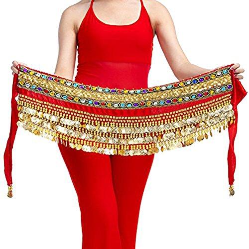 nuovo stile di vita sconto di vendita caldo vendita ufficiale YouPue Flanella gonna danza del ventre dell'anca sciarpa con le monete di  oro cintura gioiello colorato 252 centimetri Rosso