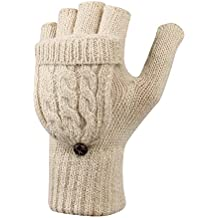 LHZY Women Winter Warm Wool Knitted Convertible Fingerless Mittens Gloves with Flap Cover Buttoned