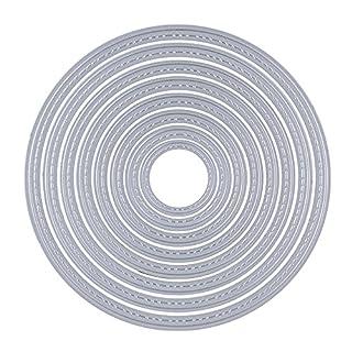 8 Stück Metall Kreis Form Stanzschablonen Metall Schneiden Schablonen Stanzformen Silber für DIY Scrapbooking Album, Schneiden Schablonen Papier Karten Sammelalbum Deko